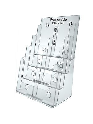 4-tier Brochure Holder For 8.5 W Literature Pamphlets Acrylic Lot Of 12