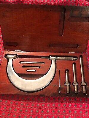 Vintage Tubular Micrometer. 0-4. St. James Minn. Interchangeable Anvilspindle.