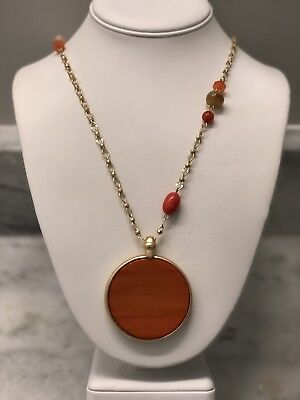 - NWT CHICO'S Reversible Orange Coral & Gold Tone Pendant NECKLACE $55.50