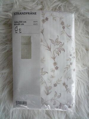 Ikea Bettwäsche Strandfräne beige-weiß geblümt /gestreift 140x200 / 80x80