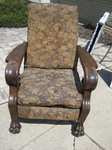 The Royal Chair Co Sturgis Michigan Vintage Furniture Wooden Carved Recliner
