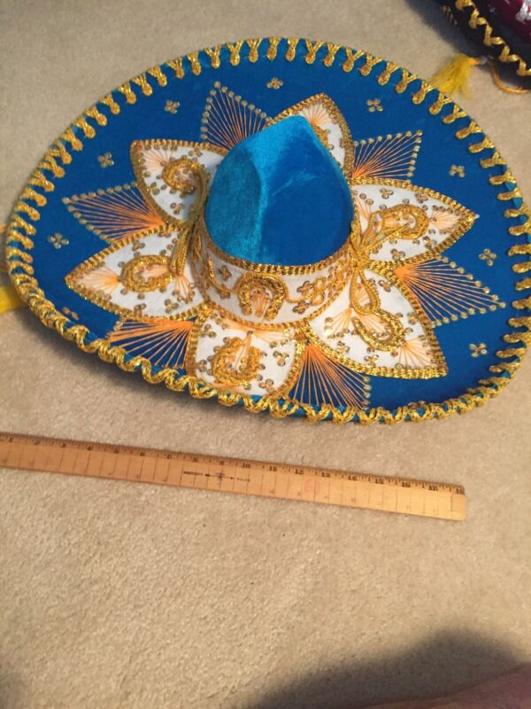 "Authentic Pigalle Aqua/Gold Mexican Mariachi Sombrero Hat 23"" XXXXXXX 7X NEW"