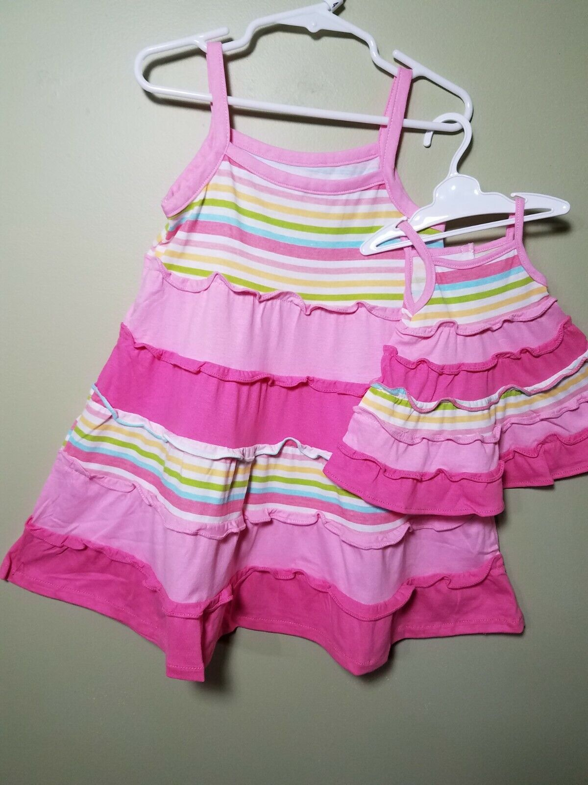 "Girl 4-10 and 18"" Doll Matching Summer Dress set, fits Ameri"