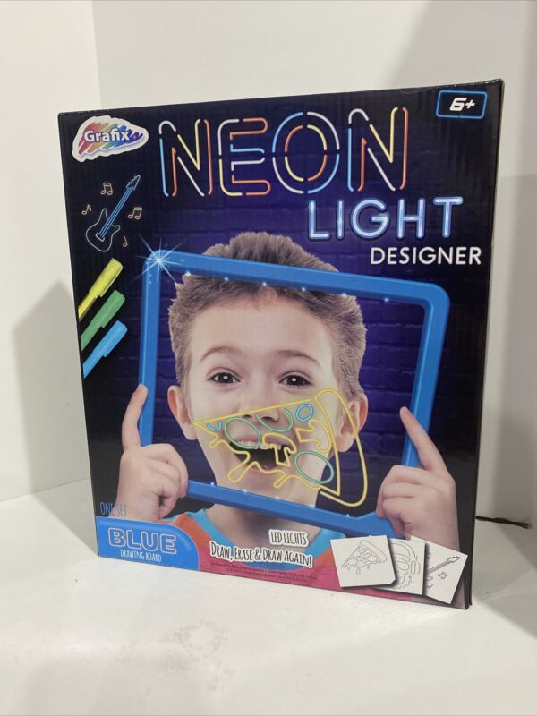 Granfix Neon LED Light Designer Blue Drawing Board. Draw, Erase & Draw Again!!