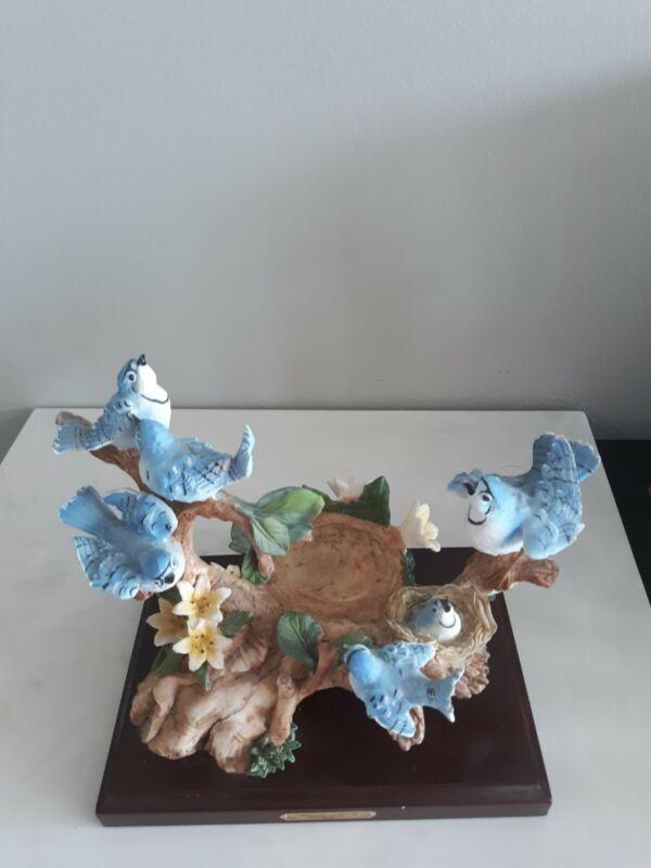 Vintage Montecelina Collection Blue Jays Porcelain candle holder On Wood Base