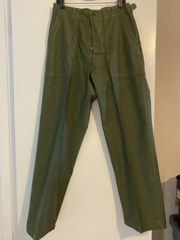 U.S. Army Korean War Era Cotton Sateen OG-107 Fatigue Trousers W32 X L32.5