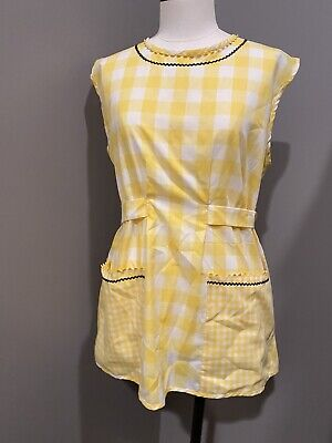 Vintage Aprons, Retro Aprons, Old Fashioned Aprons & Patterns Vintage Apron Smock Type Yellow  Gingham Plaid With Ric Rac. Rick Rack $15.00 AT vintagedancer.com