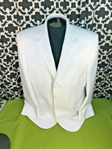 Perry Ellis America White Dinner Jacket Tux Blazer Satin Stripe Lapel - Used/New