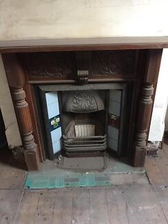 Victorian fireplace insert and timber mantle