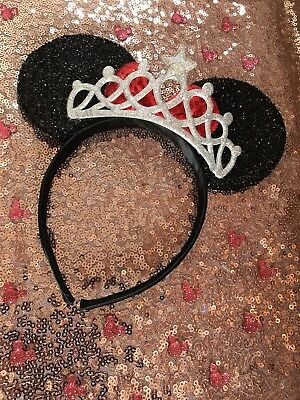 Disney Theme Minnie Mouse Ears Headband Silver Tiara Hen Girls & Ladies Hairband