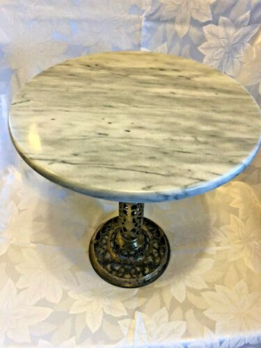 Vintage Regency Brass and Marble Top table Pedestal Plant Stand