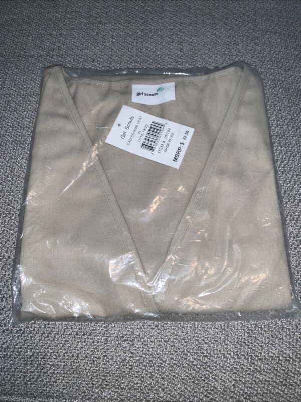 Official  Girl Scout Cadette/Senior Ambassador Beige Vest New in Package XL