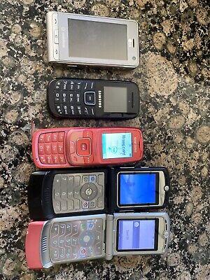 Joblot 5 X Old Mobile Phones, 2x Motorola razr, LG Cookie , 2x Samsung