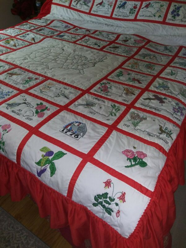Hand Painted Queen Quilt & Frill USA 50 States w/ State Flower and State Bird