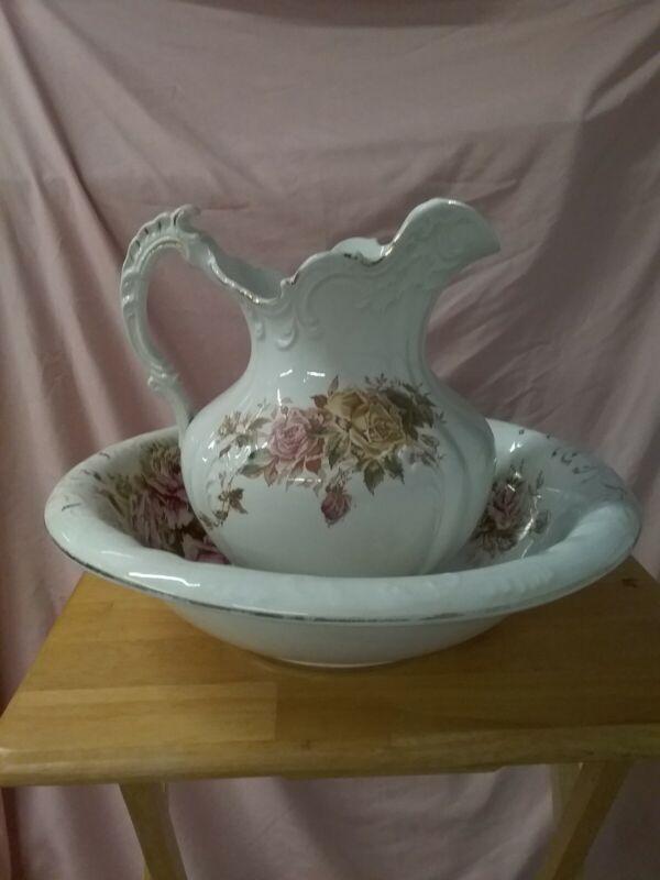 Large Vintage Wash Pitcher And Bowl Victorian Floral FLOWERS