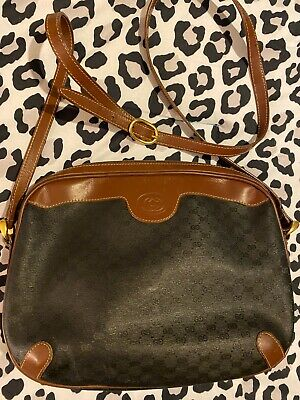 Vintage Gucci GG Crossbody Shoulder Canvas Leather Bag Purse Authentic