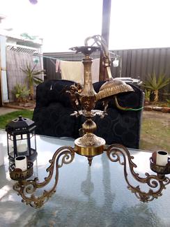 Brass Cherub 3 arm chandelier
