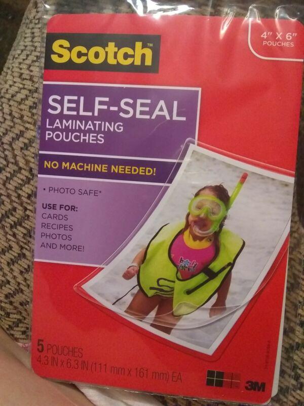 "Scotch 3M Self-Sealing Laminating Pouches 4"" x 6"" - 5 Pouches Cards Photos More!"