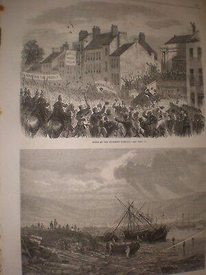 Usado, Scene at kilkenny election Ireland & after storm Table bay Good Hope 1865 prints segunda mano  Embacar hacia Spain