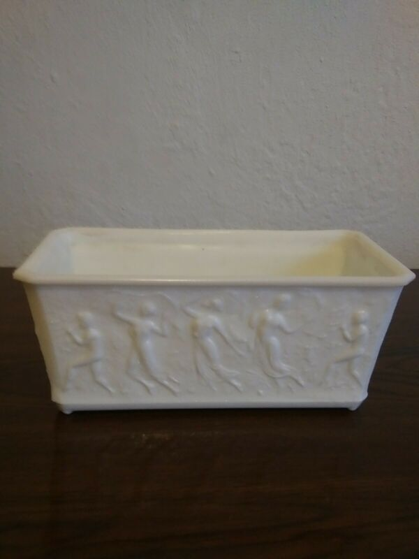 Beautiful Antique L.E. Smith White Glass Planter Naked Dancing Ladies