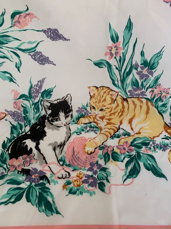 "Vintage Cat Scarf Flowers Butterflies Cute Kitties 30""x 30"" Cat Lady Gift"
