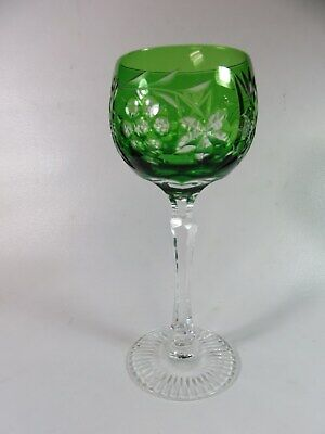 Cut To Clear Crystal Goblet Green 7 1/2