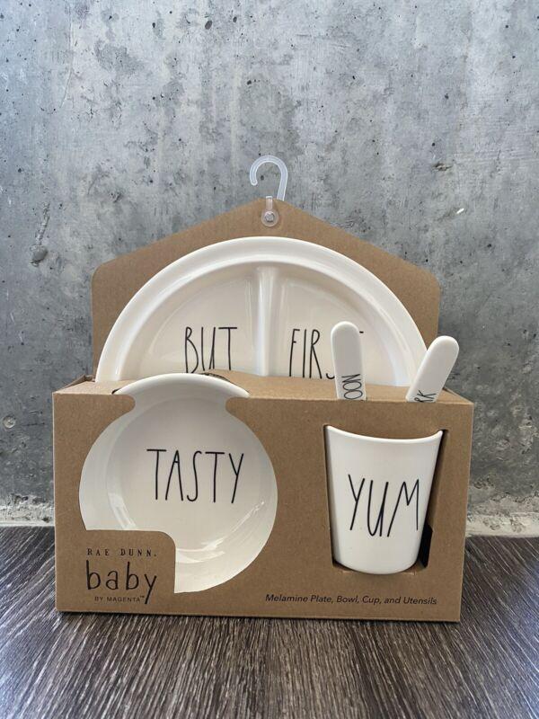 Rae Dunn Baby 5 pc Gift Set Dishes Kids Melamine Plate Bowl Cup Utensils Tasty