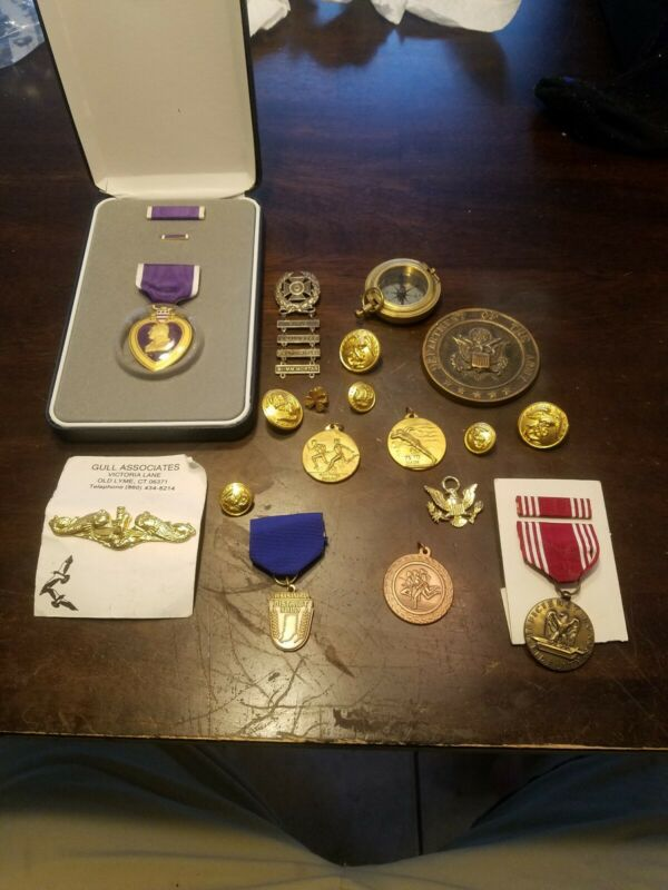 Military Collectible Items - Buttons, pendants, awards, medallion, compass.