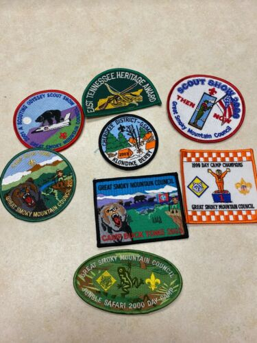 Lot of 8 Boy Scout Great Smoky Mountain Council Patches - Tennessee
