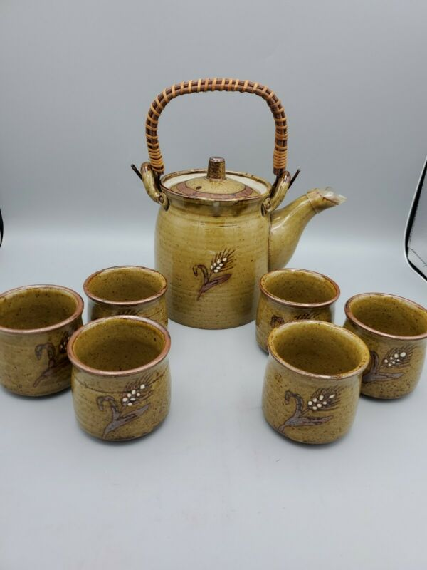 Vintage Otagiri Tea Set Pot 6 Cups NEW Made In Japan Wheat Design Hand Crafted