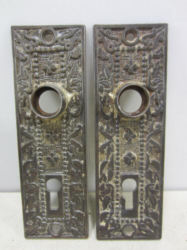 2 Antique M.W. Co. Eastlake Style Heavy Steel Door Backplates #1