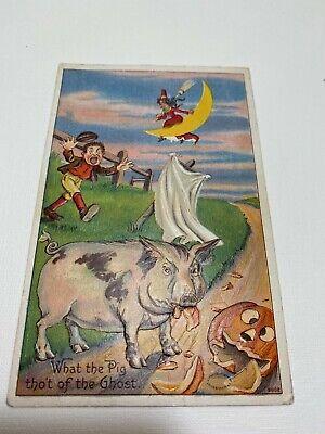 Vintage Embossed Halloween Postcard Dated 1909 Pig Ghost Series 980