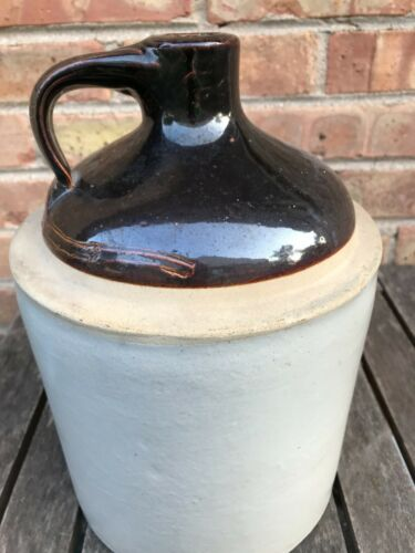 "Vintage Stoneware Jug 10 1/4"" with Handle  Brown/white Nice!"