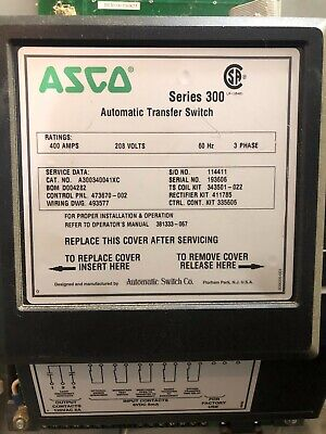 Asco Series 300 Automatic Transfer Switch - 400 Amp 208 Volt 3 Phase