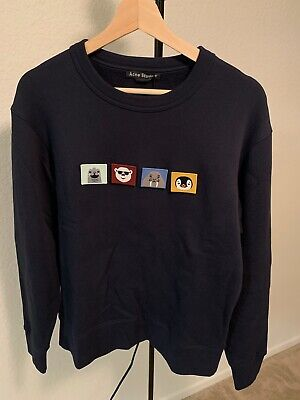 Brand New Acne Studios Regular Fit Sweatshirt Patches Navy Blue Size S