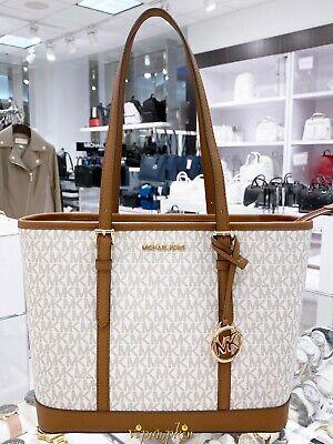 Michael Kors Jet Set Travel Small Top Zip Shoulder Tote MK Signature Bag Vanilla