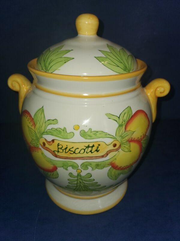 Large Ceramic Biscotti Cookie Jar canister kitchen decor