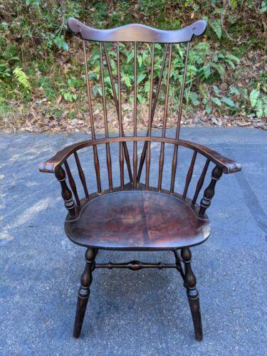 Antique American Windsor Chair: Arm Hoop High Spindle Back Turned Legs Braces