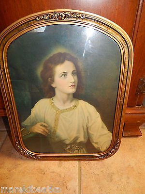 ANTIQUE VICTORIAN ART DECO WOODEN GESSO FRAME W / YOUNG JESUS OLD PRINT