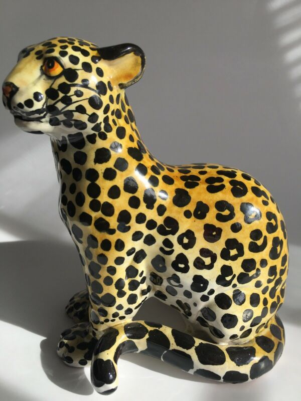 Vtg Italy Hand Painted Cheetah Standing Bold Ceramic Terracotta Sculpture