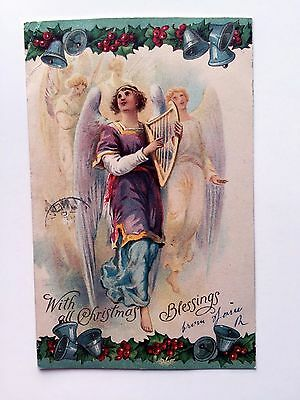 1909 Religious With All Christmas Blessings Postcard w/ Angel Playing Harp - Religious Christmas Plays