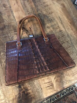1940s Handbags and Purses History Vintage Whiskey Brown Crocodile Hand Bag Purse 1940's Nice $90.00 AT vintagedancer.com