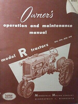 Minneapolis Moline Model R Rtu Rts Rtn Rte Agricultur Farm Tractor Owners Manual