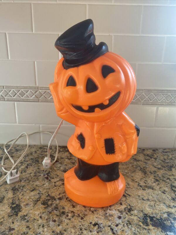 "EUC ! Vintage Halloween Light Pumpkin Man Blow Mold Empire 1969 14"""