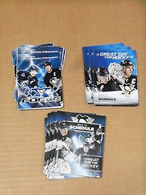 Pgh Penguins, 18 Schedules, 2005-06, 2011-12 & 2012-13, Six (6) of Each, Clean