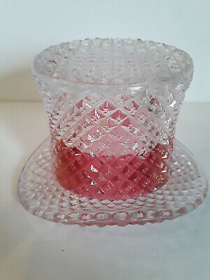 Clear Glass Top Hat w/ Cranberry Band Toothpick/Candle Holder