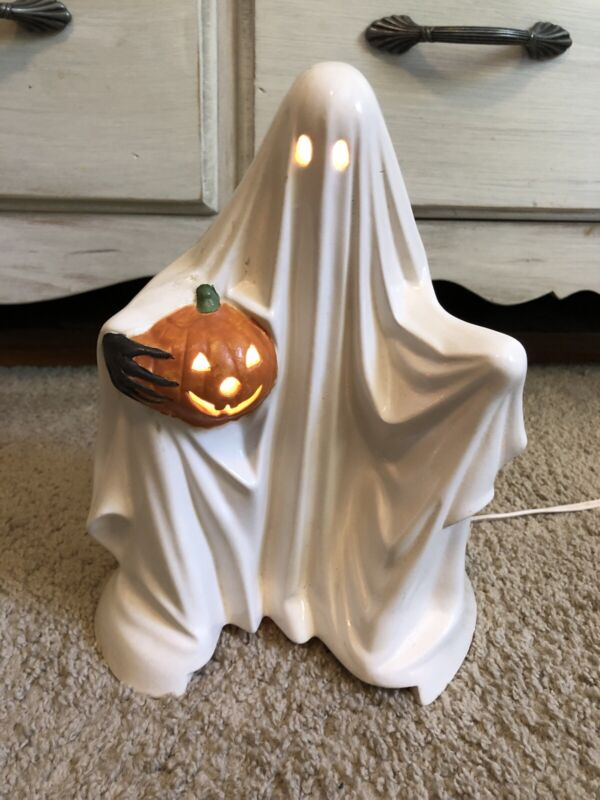 "Vintage Handmade Ceramic Glossy Halloween Ghost With Pumpkin Light Up Lamp 10"""