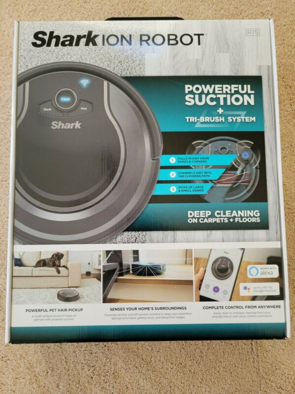 Shark ION Robot R75, Wi-Fi Connected Multi-Surface Deep Cleaning RV750 - NEW