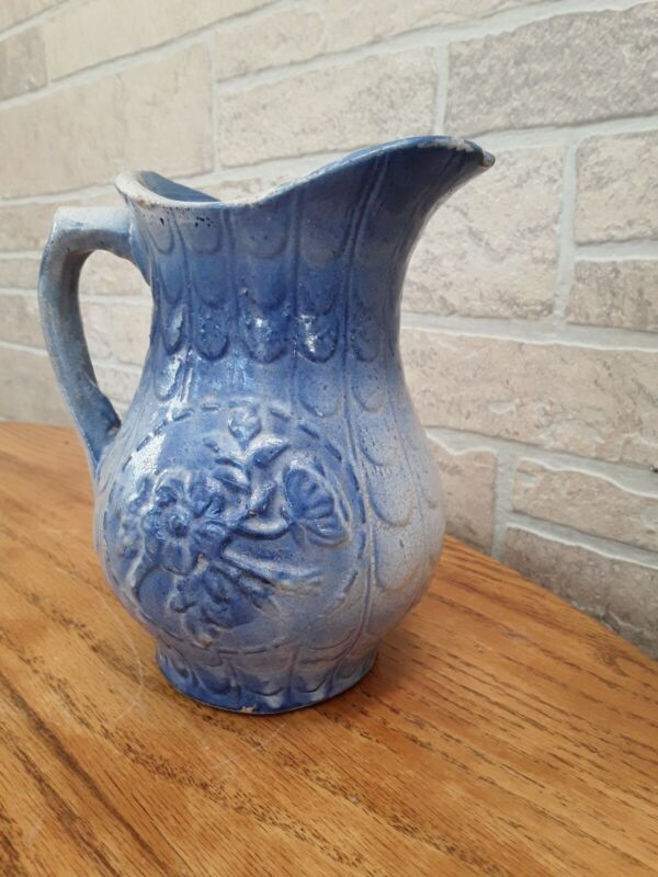 Antique 1800's  Blue & White Salt Glaze Stoneware Pitcher