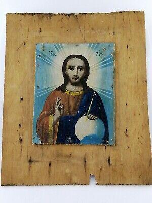 Antique 19c Old Orthodox Icon Rare Antique Original  Icon Old Ukrainian Folk Icon of the Jesus Christ